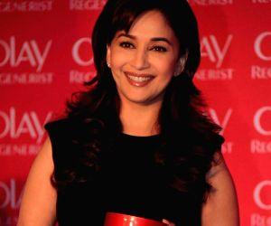 Bollywood actress Madhuri Dixit Nene at press meet for the new Olay Regenerist Wrinkle Revolution Complex at Hotel JW Marriott in Juhu, Mumbai.