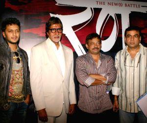 "Bollywood star Amitabh Bachchan with director Ram Gopal Verma, actors Ritesh Deshmukh and  Paresh Rawal at a press-meet for the film ""Rann"" in New Delhi on Wednesday."