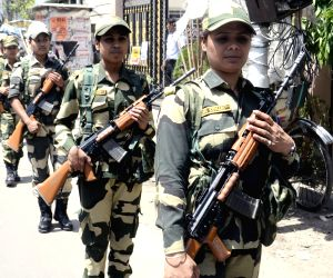 Border Security Force (BSF) women personnel conduct route march ahead of 2019 Lok Sabha elections, in Kolkata, on March 24, 2019.