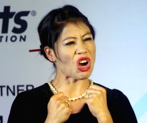 M.C. Mary Kom at the launch of 'Stars of Tomorrow