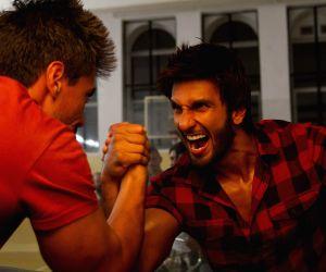 Ranveer Singh, Arjun Kapoor during shooting of a commercial