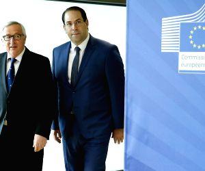 BELGIUM-BRUSSELS-EU-JUNCKER-TUNISIA-PM