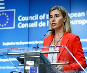 BELGIUM BRUSSELS EU US KERRY MOGHERINI PRESS CONFERENCE