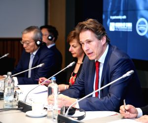 BRUSSELS, March 21, 2019 - Gunnar Wiegand (1st R), Managing Director for Asia and the Pacific at the European External Action Service, speaks during a seminar held by the Brussels-based think tank ...