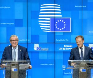 BRUSSELS, March 23, 2019 - European Commission President Jean-Claude Juncker (L) and European Council President Donald Tusk attend a press conference after the first-day meeting of EU's spring summit ...