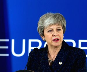 BRUSSELS, March 23, 2019 (Xinhua) -- British Prime Minister Theresa May attends a press conference after the first-day meeting of EU's spring summit in Brussels, Belgium, on March 22, 2019. (Xinhua/European Union/IANS)