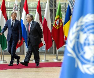 BRUSSELS, May 15, 2018 - European Council President Donald Tusk (L) meets with United Nations Secretary-General Antonio Guterres in Brussels, Belgium, on May 15, 2018.