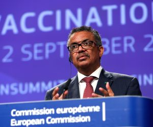 BRUSSELS, Sept. 12, 2019 - Director-General of the World Health Organization (WHO) Tedros Adhanom Ghebreyesus speaks during a press conference on occasion of the Global Vaccination Summit in ...