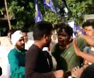 BSP national coordinator and state in charge paraded on donkey with blackened face in Jaipur