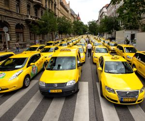 HUNGARY  BUDAPEST TAXI DEMONSTRATION UBER