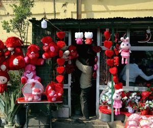 CAIRO, Feb. 14, 2018 - A vendor arranges gifts at his shop on the Valentine's day in Cairo, Egypt on Feb. 14, 2018.
