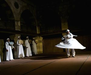 Sufi dance at a night show marking the holy fasting month of Ramadan