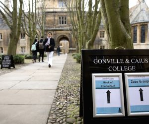 CAMBRIDGE (BRITAIN), March 14, 2018 Photo taken on March 14, 2018 shows Gonville and Caius College at the University of Cambridge where a book of condolence to world renowned physicist ...