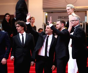 Director Ethan Coen (1st R), Joel Coen (2nd L), actor Garrett Hedlund (1st L), Oscar Isaac (3rd L) and Justin Timberlake (3rd R) pose for the screening of American ...