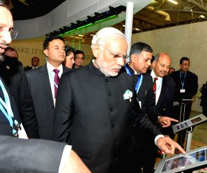 Paris (France): COP21 Summit - PM Modi visits the India Pavilion