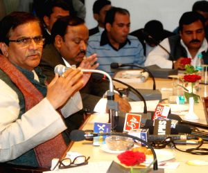 O.P Dhankar addresses a press conference