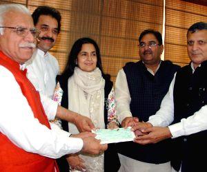 Haryana legislators contribute to CM's relief fund