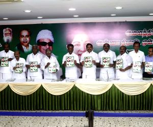 Chennai: AIADMK leaders - Tamil Nadu Chief Minister Edappadi K. Palaniswami, Deputy Chief Minister O. Panneerselvam and other leaders of the party at the launch of the party's election manifesto ahead of 2019 Lok Sabha elections in Chennai, on March