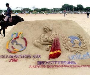 Chennai arts students' sand sculpture