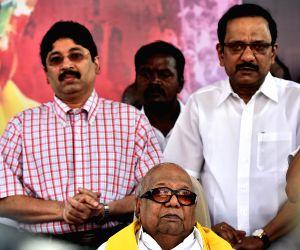 DMK demonstration against land acquisition bill