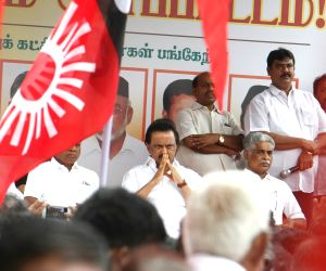 Chennai: Dravida Munnetra Kazhagam (DMK) president M. K. Stalin along with other opposition party leaders participate in a demonstration against the decision to exempt Tamil Nadu from the implementation of the National Eligibility cum Entrance Test (