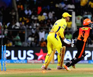 Chennai Super Kings skipper MS Dhoni bowled by Rashid Khan of Sunrisers Hyderabad during the first qualifier match of IPL 2018 between Chennai Super Kings and Sunrisers Hyderabad at Wankhede ...