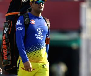 Chennai Super Kings skipper MS Dhoni during a practice session in Mohali on April 14, 2018.