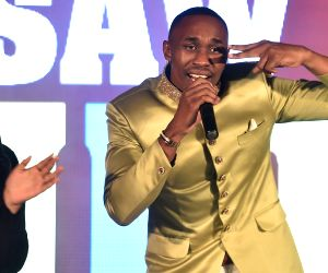 Dwayne Bravo at the launch of his audio track