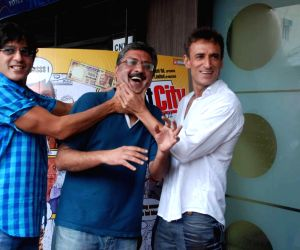 Chunky Pandey, Pankaj Advani and Rahul Dev at Sankat City press meet at Andheri, in Mumbai.
