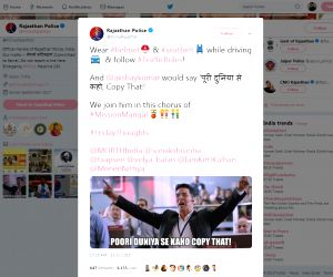 Close on the heels of the Mumbai police using the newly launched trailer of Akshay Kumar-starrer 'Mission Mangal' to create interesting memes discouraging drunken driving and spread road safety awareness, the Rajasthan Police have followed the suit u