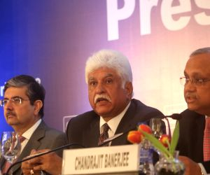 Confederation of Indian Industry (CII) President Rakesh Bharti Mittal along with CII President-Designate and Kotak Mahindra Bank Founder and CEO Uday Kotak, addresses during a press ...
