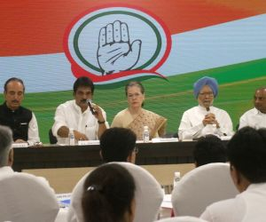 Congress interim President Sonia Gandhi with party leaders Ghulam Nabi Azad, K. C. Venugopal, Dr Manmohan Singh and A. K. Antony during a meeting of party general secretaries, state ...