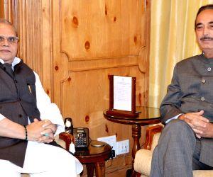Congress leader and er of Opposition in Rajya Sabha Ghulam Nabi Azad meets Jammu and Kashmir Governor Satya Pal Malik in Srinagar on Sept 4, 2018.