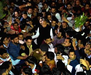Congress leader and Rajasthan Chief Minister-designate Ashok Gehlot with his supporters at his residence in Jaipur on Dec 14, 2018.
