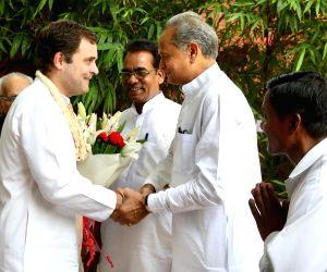 Congress leader Ashok Gehlot wishes party's President Rahul Gandhi on his birthday, in New Delhi, on June 19, 2019.