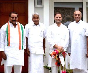 Congress leader N. Kiran Kumar Reddy meets Congress President Rahul Gandhi,in New Delhi, on July 13, 2018.