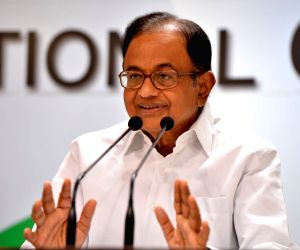 Congress leader P. Chidambaram addresses a press conference at the party's headquarter, in New Delhi on Aug 19, 2018.