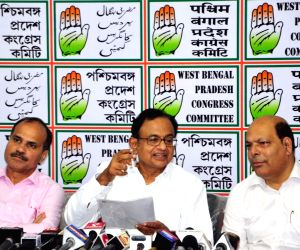 Congress leader P. Chidambaram addresses a press conference, in Kolkata on Aug 25, 2018.