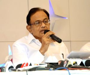 Congress leader P. Chidambaram addresses a press conference, in Nagpur on Sept 1, 2018.