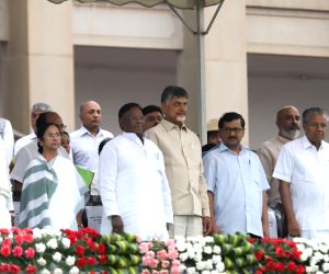 Congress leader Siddaramaiah, West Bengal Chief Minister Mamata Banerjee, Puducherry Chief Minister V. Narayanasamy, Andhra Pradesh Chief Minister Chandrababu Naidu, Delhi Chief Minister ...