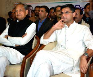 Congress leaders Ashok Gehlot and Sachin Pilot during Congress Legislature Party meeting in Jaipur on Dec 14, 2018.