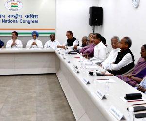 Congress leaders Mallikarjun Kharge, K. C. Venugopal, Sonia Gandhi, Rahul Gandhi, Manmohan Singh, A.K. Antony, Ghulam Nabi Azad, Motilal Vora, Ambika Soni, Kumari Selja, P. Chidambaram, ...