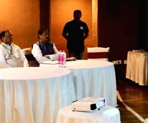 Rahul Gandhi during a review meeting with booth workers