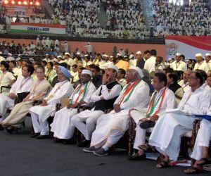 Congress leaders Rahul Gandhi, Sonia Gandhi, Manmohan Singh, A. K. Antony, Ghulam Nabi Azad, Mallikarjun Kharge, Kamal Nath and P. Chidambaram during the 84th plenary session of AICC at ...