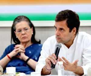 Congress leaders Sonia Gandhi and Rahul Gandhi during the Congress Working Committee (CWC) meeting at the party's headquarters in New Delhi, on May 25, 2019.