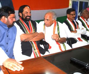 Congress leaders Uttam Kumar Reddy, Anjan Kumar Yadav, V. Hanumantha Rao and Shashidhar Reddy during a party meeting, in Hyderabad on July 16, 2018.