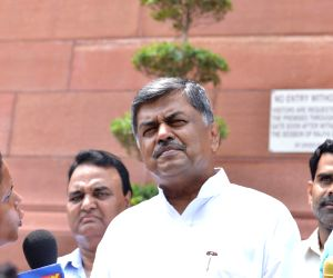 Congress MP B. K. Hariprasad talks to the media at Parliament, in New Delhi on Aug 9, 2018. B.K. Hariprasad was fielded by opposition parties as UPA's candidate in the Rajya Sabha Deputy ...