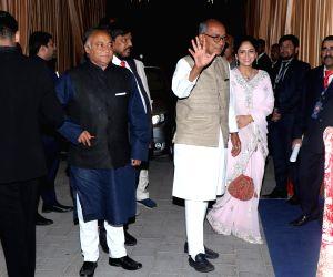 Congress MP Digvijaya Singh at the wedding reception of industrialist Mukesh Ambani's daughter Isha Ambani and Anand Piramal in Mumbai on Dec 14, 2018.