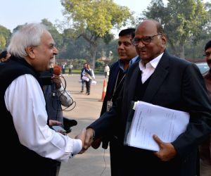 Kapil Sibal, Sharad Pawar at Parliament