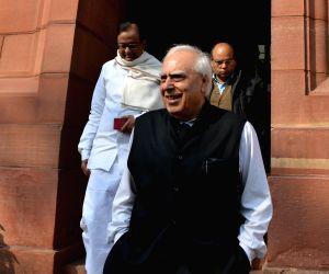 Kapil Sibal, P. Chidambaram at Parliament